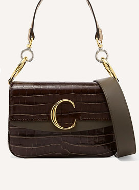 Chloe C Brown Croc Effect Small Double Handle Bag