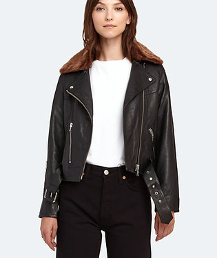 All Saints Black Leather Rigby Moto Jacket with Faux Fur Collar US6
