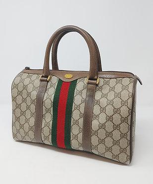 Gucci Vintage GG Web Boston Bag