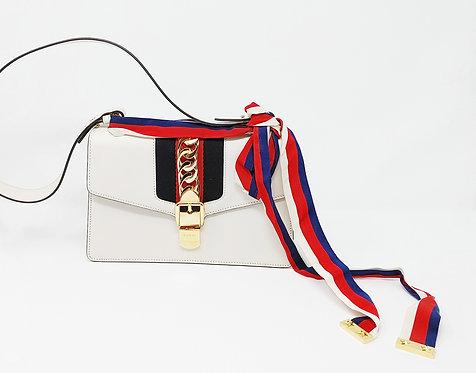 Gucci Sylvie Small Shoulder Bag Off White