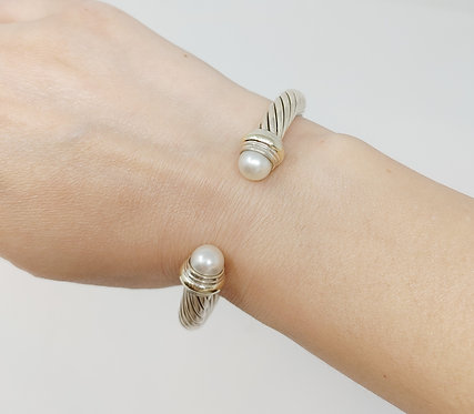 David Yurman Sterling and White Gold Pearl Cable Cuff