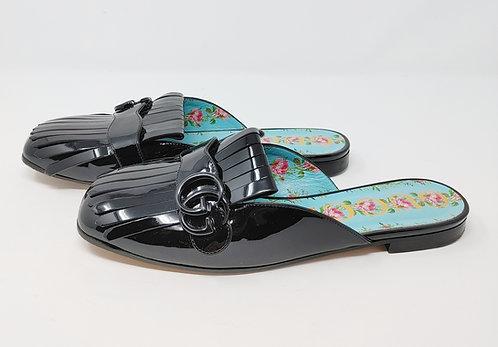 Gucci Black Patent Slides 39 1/2
