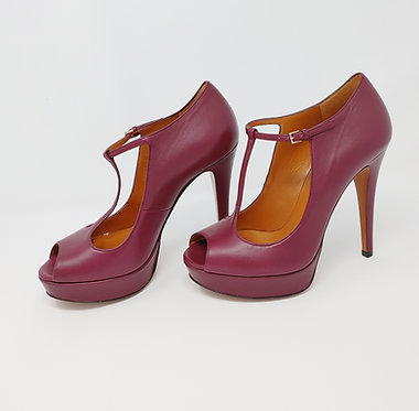 Gucci Burgundy Leather Peep Toe Mary Janes 36