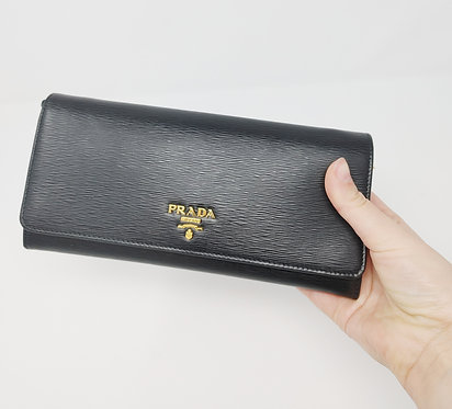 Prada Black Leather Wallet on Chain