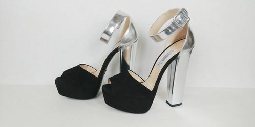 Suede Prada Sandal 38 Black Silvet And Maryjane Heel Platform D2EHIe9YW