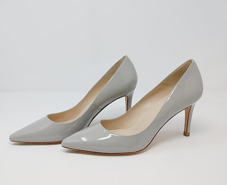 L.K. Bennett Grey Patent Court Shoe 40