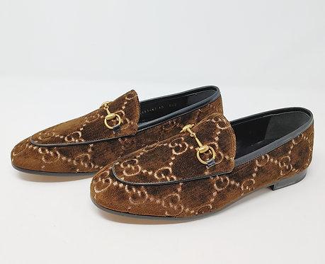 Gucci GG Brown Velvet Jordaan Loafers 40