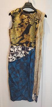 Dries van Noten Multi Print Brocade Dress 40/US8