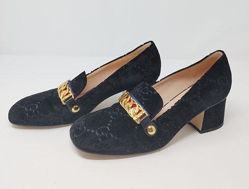 Gucci Sylvie Blue Velvet Loafer 39 1/2