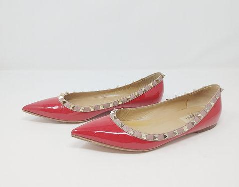 Valentino Rockstud Red Patent Flat 39 1/2