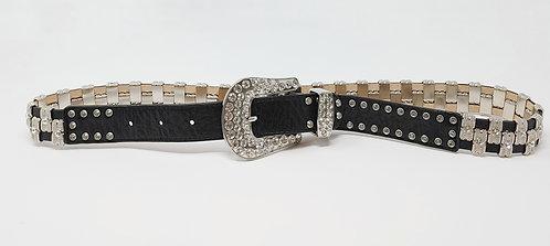 Black Leather Crystal Embellished Belt 34-Large