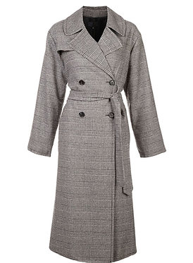 Nili Lotan Check  Distressed Wool-blend Coat XS