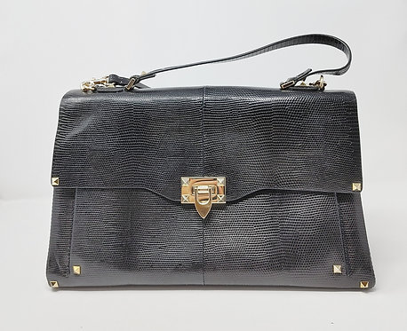 Valentino Genuine Lizard Skin Bag Black