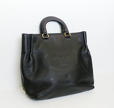 Prada Black Pebbled Leather Tote with Strap