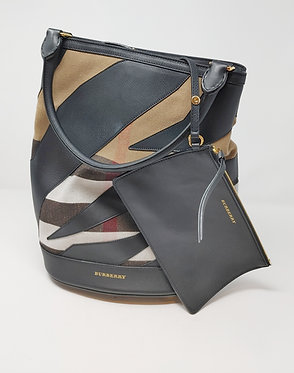 Burberry Check Canvas and Black Leather Handle Bag