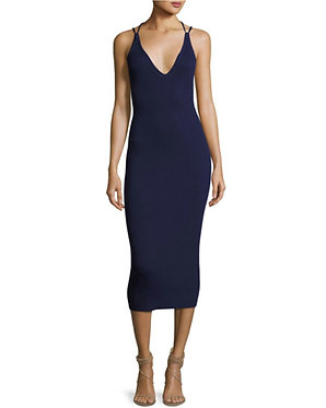 MK Michael Kors Ribbed Knit Dress Navy Small