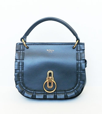 Mulberry Small Leather Amberley Shoulder Bag Charcoal