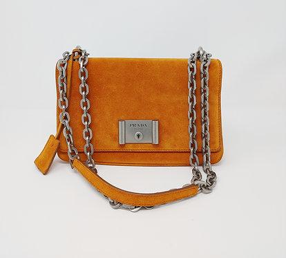 Prada Papaya Scamosciato Suede Chain Bag