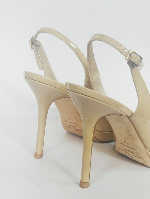 ad33f81c6f6 Jimmy Choo Nude Patent Peep Toe Slingback 37. C  195.00. HazelLily Designer  Consignment prides itself on only selling 100% authentic luxury items.