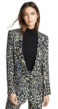Smythe Green Leopard Print Blazer 8