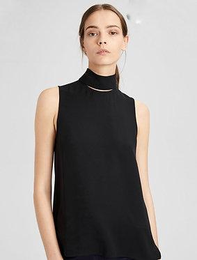 Theory Black Slit Collar Shirt