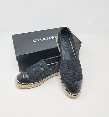 Chanel Black Sequin Espadrille 37