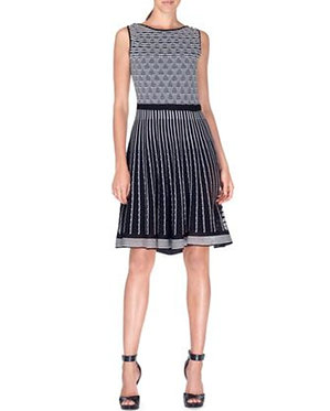 Etro Black and White Fit and Flare Knit Dress 46/12