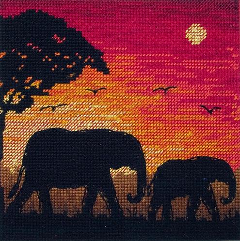 Siluetas Elefantes - Maia Collection - Kit de punto de cruz