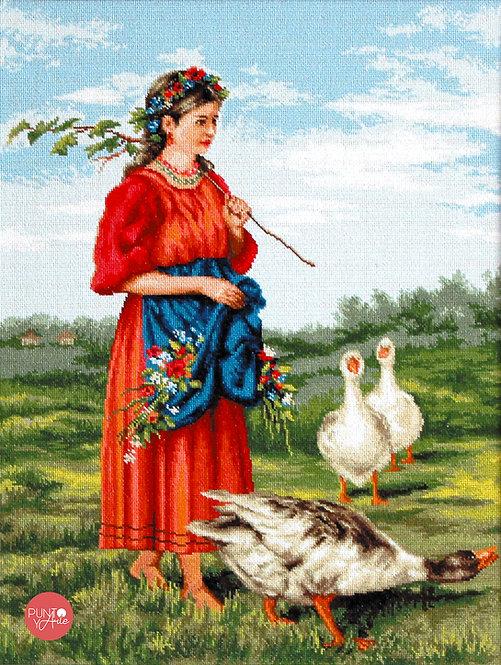 B486 Mujer con gansos - Luca-S - Kit de Punto de Cruz
