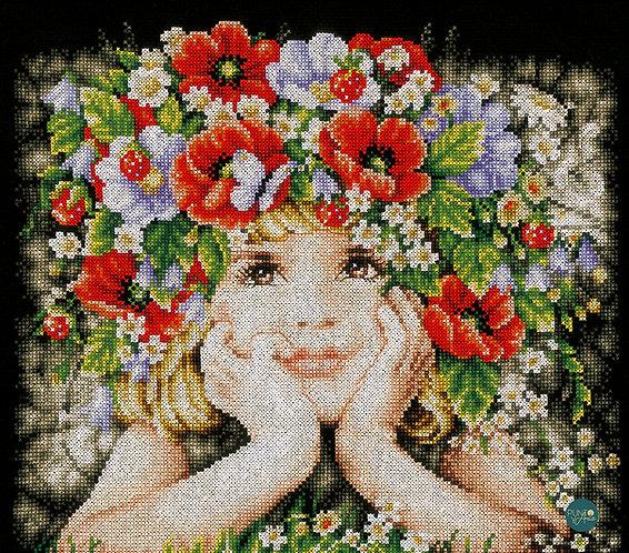 Niña con flores - Lanarte - Kit de punto de cruz