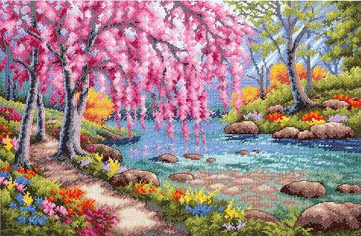 Cherry Blossom Creek - 70-35374 Dimensions - Kit de punto de cruz