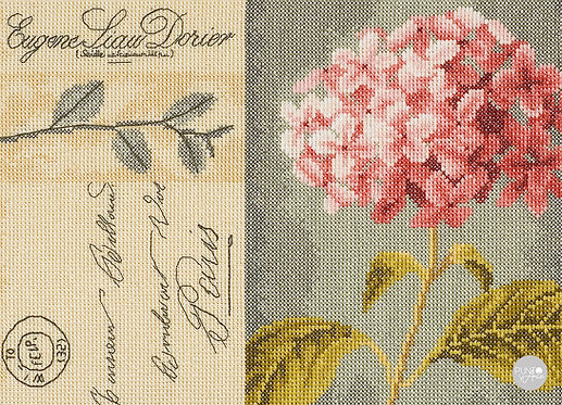 Hortensia Vintage - Lanarte - Kit de punto de cruz