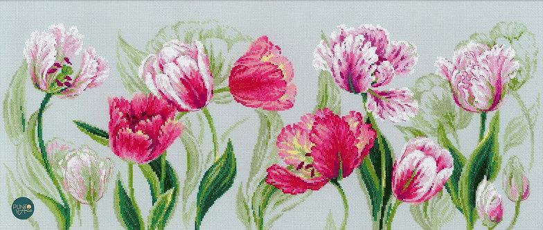 100/052 Tulipanes de primavera - Riolis - Kit de punto de cruz
