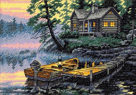 Lago por la mañana - 65091 Dimensions - Kit de punto de cruz