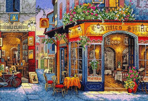 Un Restaurante Romántico - 35224 Dimensions - Kit de punto de cruz