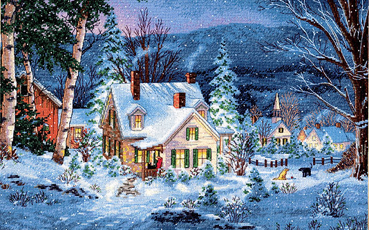 Silencio de invierno - 70-08862 Dimensions - Kit de punto de cruz