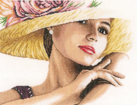 Dama con sombrero - Lanarte - Kit de punto de cruz