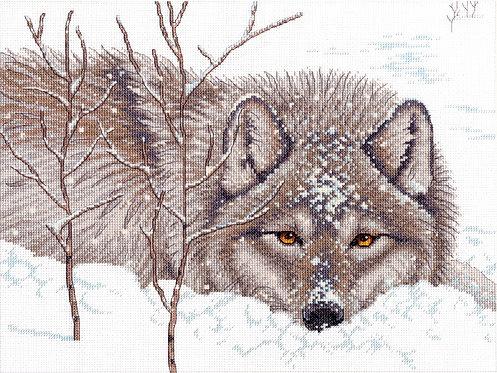 Lobo y nieve - 70-35377 Dimensions - Kit de punto de cruz