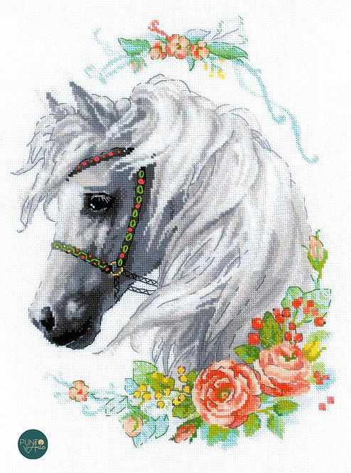 1804 White Mane and Roses - Riolis - Kit de punto de cruz