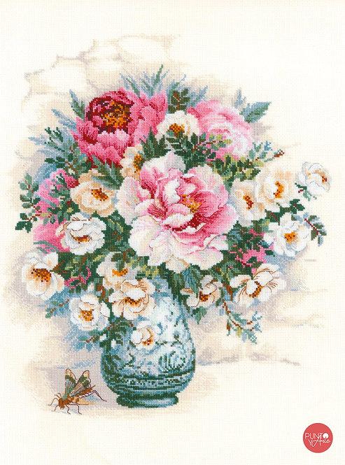 1816 Peonías y rosas silvestres - Riolis - Kit de punto de cruz
