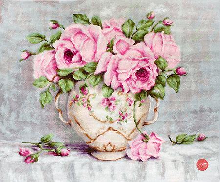 BA2319 Rosas rosadas - Luca-S - Kit de Punto de Cruz