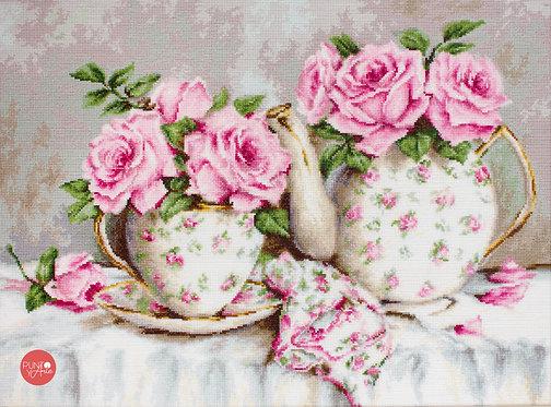 BA2320 Té de la mañana y rosas - Luca-S - Kit de Punto de Cruz