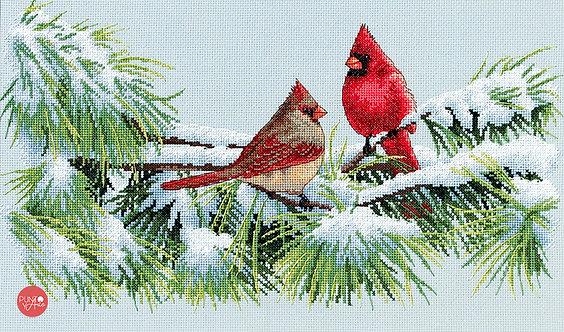 Cardenales de invierno - 35178 Dimensions - Kit de punto de cruz