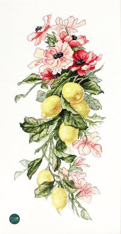 B210 Flores y limones - Luca-S - Kit de Punto de Cruz