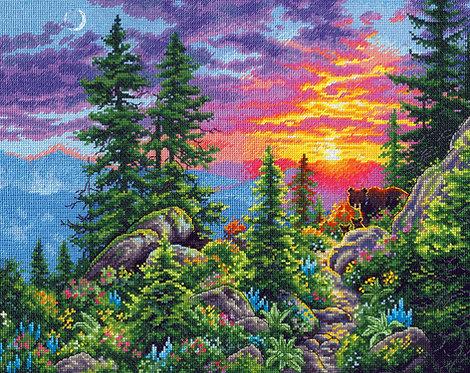 Sunset Mountain Trail - 70-35383 Dimensions - Kit de punto de cruz