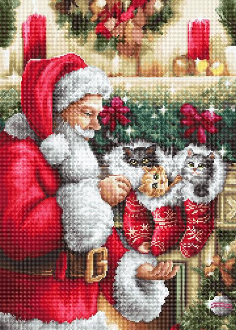 B602 Papá Noel regalando gatitos - Luca-S - Kit de Punto de Cruz
