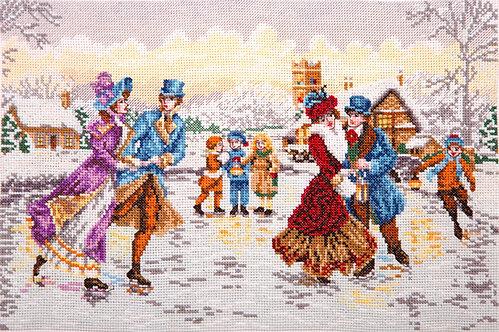 Patinadores en navidad - Maia Collection - Kit de punto de cruz
