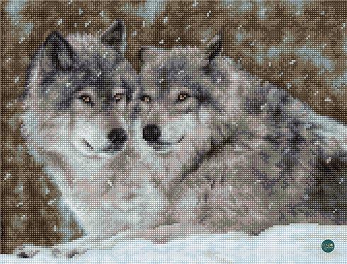 B2291 Dos lobos - Luca-S - Kit de Punto de Cruz