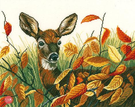 Ciervos en hojas de otoño - Lanarte - Kit de punto de cruz