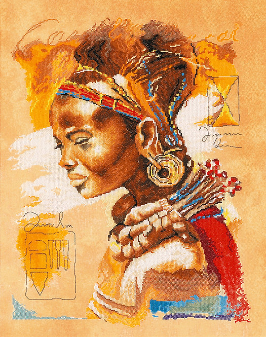 Mujer Africana - Lanarte - Kit de punto de cruz